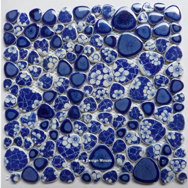 Chine Bleu Vitrée Pebble Carreaux De Céramique Mosaïque Cuisine - Carrelage bleu