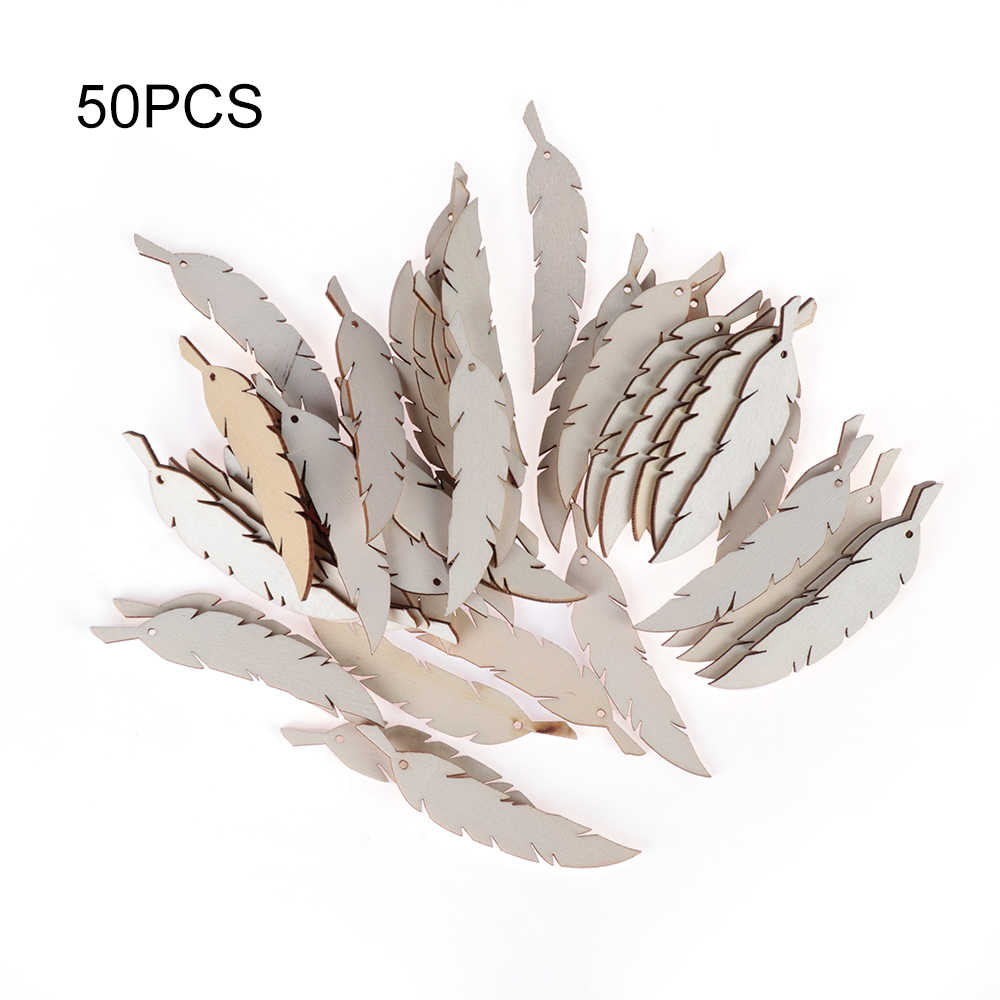 50pcs/pack Laser Cut Wooden Feather Embellishment Wedding Party Home Decor Wood DIY Crafts Hanging Ornaments