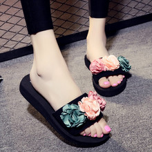 2017 New Sweet Flower Women Slippers Handmade Beach Female Flats Heels Outside Shoes