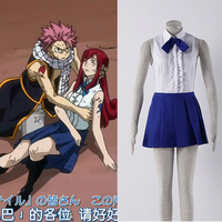 Fashion Animal Fairy Tail Cosplay Costume Erza Scarlet White Shirt And Blue Skirt Cosplay Set Clothing For Women