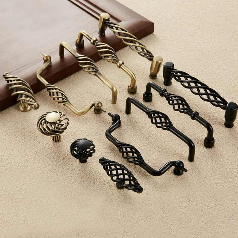 NAIERDI Antique Bronze Cabinet Handles Hollow Out Birdcage Handles Drawer Knobs Wardrobe Door Pullers Vintage Furniture Handle