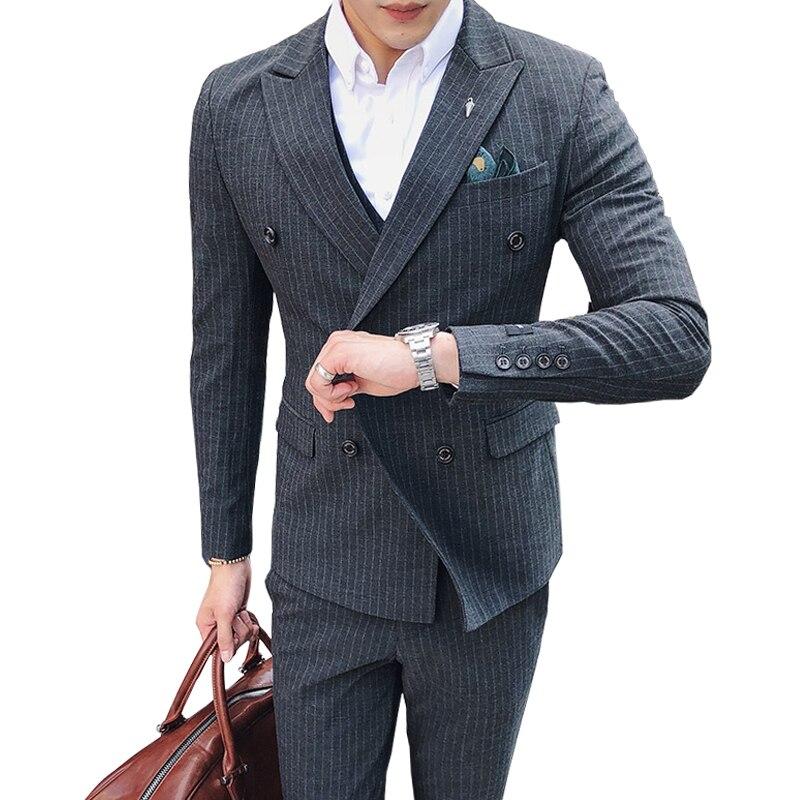 (jacke + Weste + Hosen) Boutique Mode Gestreiften Formalen Mens Casual Business Zweireiher Anzug/bräutigam Hochzeit Kleid Anzüge Reich An Poetischer Und Bildlicher Pracht