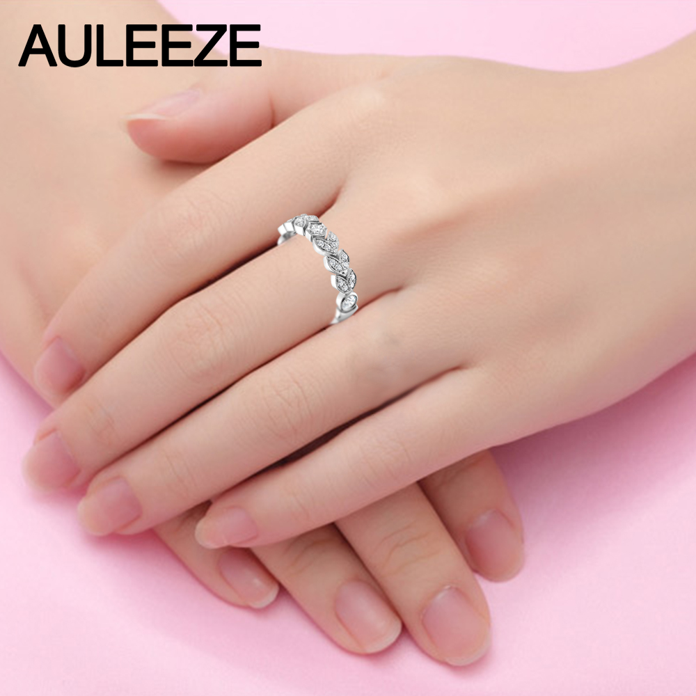 Unique Leaf Moissanites Wedding Sets Fine Jewelry 14K White Gold ...