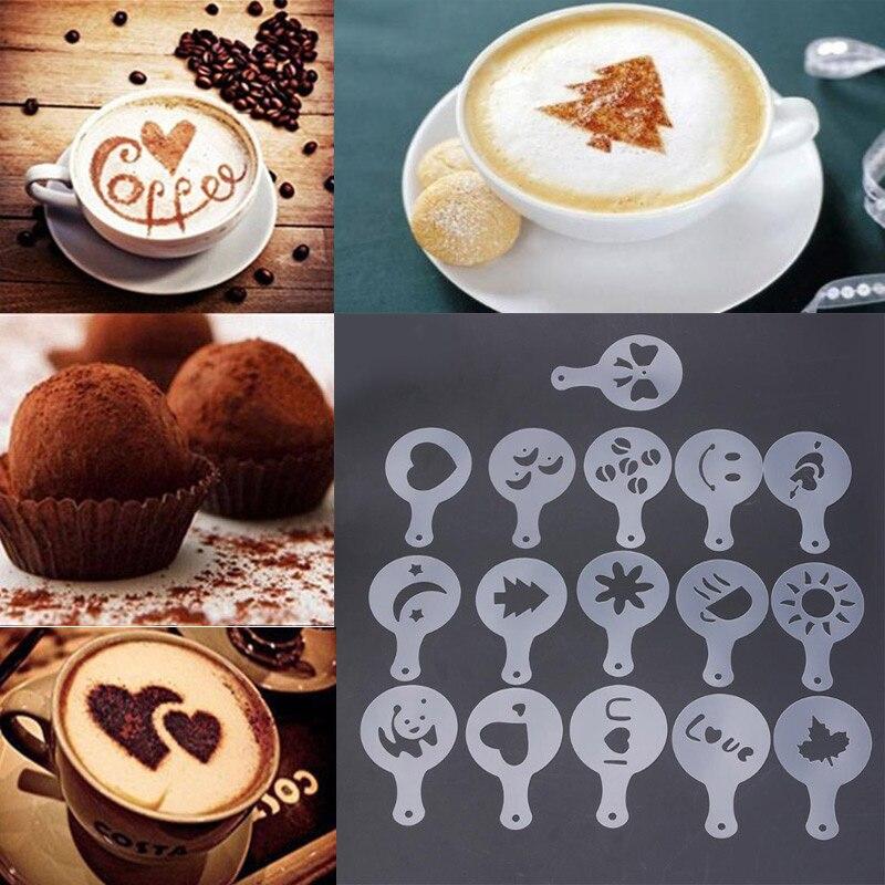 16Pcs/set Coffee Latte Mold Dusting Pad Latte Cappuccino Coffee Stencils DIY Cake Cookie Model Kitchen Art Baking Tools
