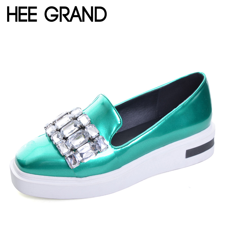 HEE GRAND Crystal Loafers 2017 New Creepers Bling Platform Shoes Woman Slip On Flats Casual Women Shoes Plus Size 35-43 XWC1111 hee grand 2017 new women oxfords british pu patent leather platform flats spring round toe slip on casual shoes woman xwd3511