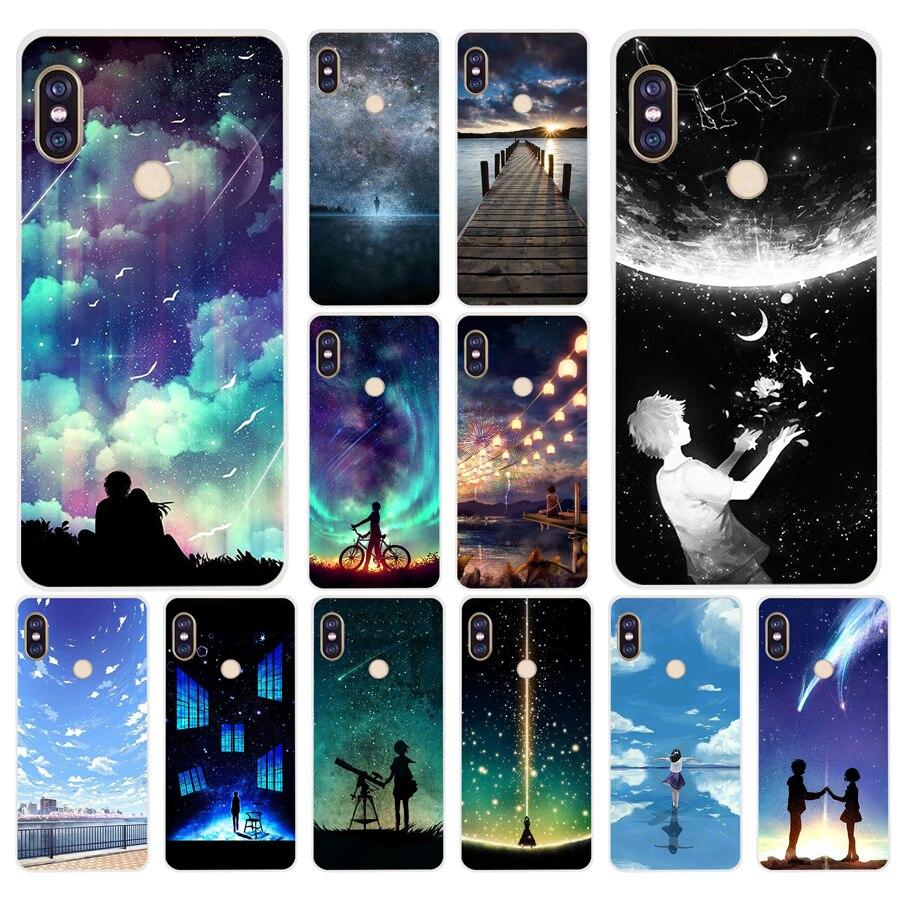 143H starry day anime Soft Silicone Tpu Cover phone Case for xiaomi redmi 6 pro 5 plus note 6 pro 4  4x mi 8