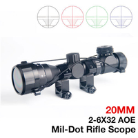 Hunting Tactical 2 6x32 AOE Illuminated Scope Red Green Mil dot Sight Rifle Scope 20mm Rail Mounts Airsoft Optical HT6 0024