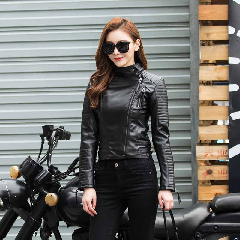 Ailegogo Autumn Women Black Punk   Leather   Jacket Female Soft Pu Faux   Leather   Female Jackets Basic Bomber Pu   Leather   Coats