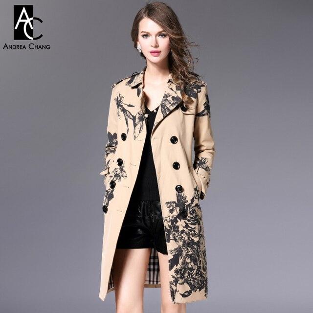 Осень зима взлетно-посадочной полосы дизайнер женщин пиджаки хаки тренчкот черный цветок цветочный принт с поясом высокого качества бренд траншеи
