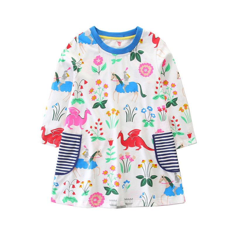 Toddler Cotton girls dresses long sleeve children dresses 2018 new autumn spring kids clothing flowers unicorn dressese недорго, оригинальная цена