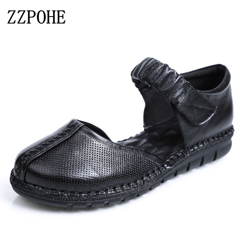 ZZPOHE New Spring Autumn Fashion Woman Genuine Leather Soft Casual Flat Shoes Mother Comfortable Black shoes Women Driving shoes bakkotie 2017 new autumn baby boy casual shoes khaki genuine leather black kid girl brand flat shoes soft sole breathable child