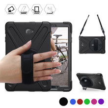 For Samsung galaxy Tab A A6 10.1 with S Pen P580 P585 Kids Safe Heavy Duty Silicone+PC Kickstand Case w/ Wrist+Shoulder Strap
