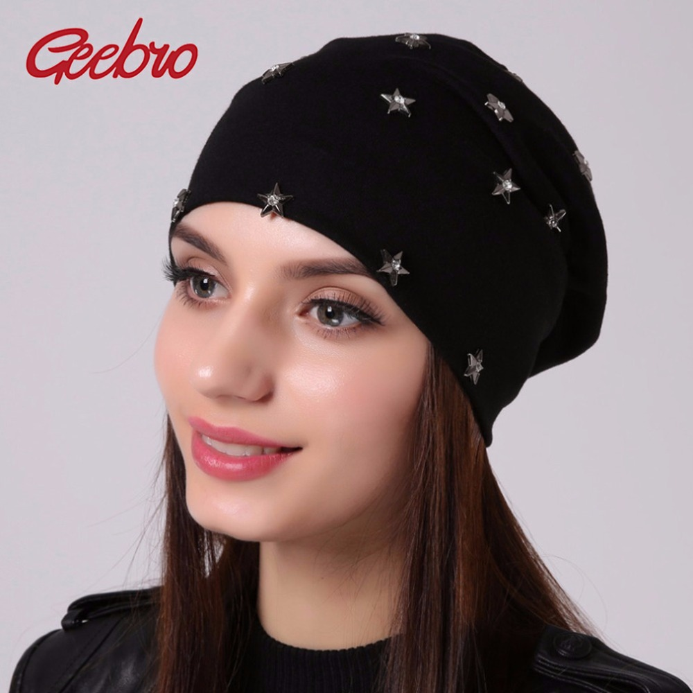 Geebro Women's   Beanie   Hat Spring Casual Polyester Star Rhinestones Slouchy   Beanie   for Women Autumn Thin Cotton Female   Skullies