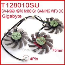 3pcs/lot EVERFLOW T128010SU DC12V 0.35A 75mm 4Pin For Gigabyte GV-N980 N960 N970 G1 GAMING WF3 OC Graphics Card Cooling Fan