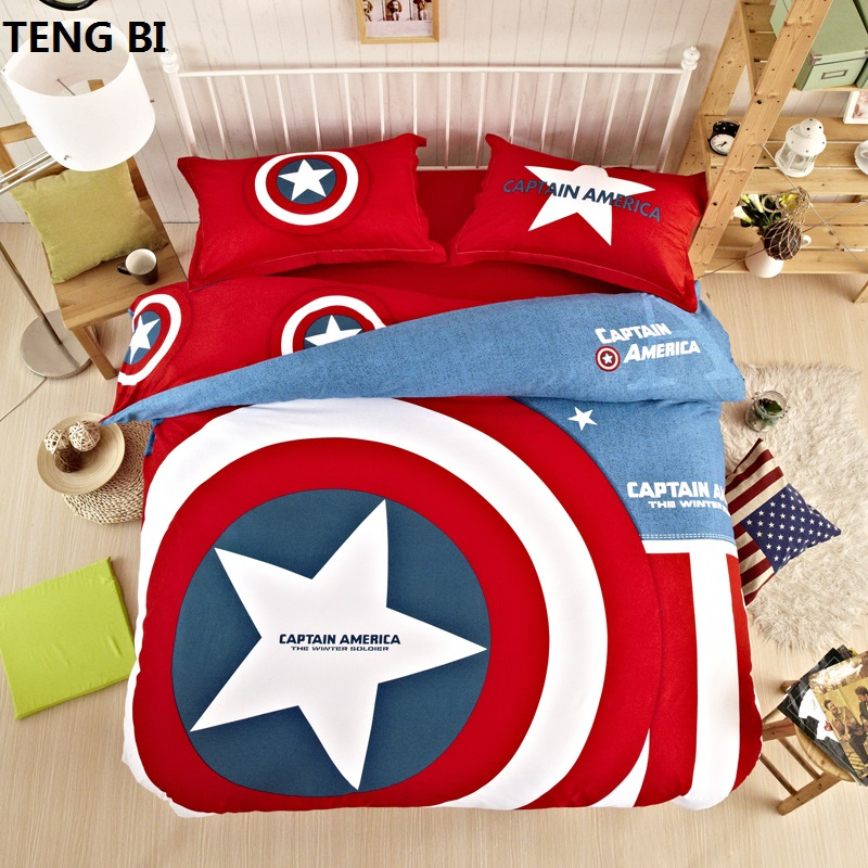 Nouveaux ensembles de literie uniques batman textile à la maison héros américain superman captain america ensemble de literie 3 tailles double reine roi pour les enfants