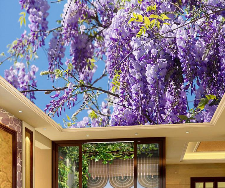 Blue sky Ceiling Wallpaper Murals Modern 3d Wallpaper For Living room Bedroom Wisteria Flower Wallpaper Brick Ceiling Wall high definition sky blue sky ceiling murals landscape wallpaper living room bedroom 3d wallpaper for ceiling