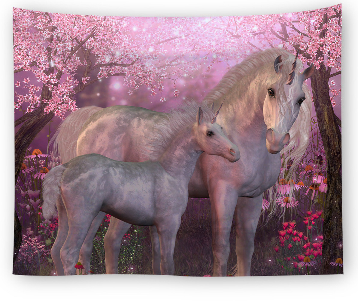 3D Running Horses Pattern Tapestry Tridimensional Wall Hanging Gobelin for Sweet Warmth Living Room Decorative Mural in Tapestry from Home Garden