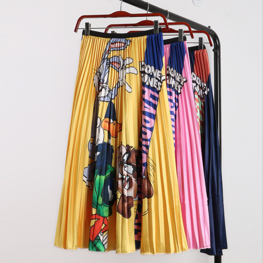 2019 New Autumn Cartoon Printed Pleated Skirt Women Long Skirts High Waist Harajuku Tulle A-Line Mid-Calf Skirts High Quality