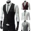 big size europen style Men's fashion Suit Vest Business Slim gentleman Vest Men Suits Blazer Black/White/Gray Vest Suit For Men