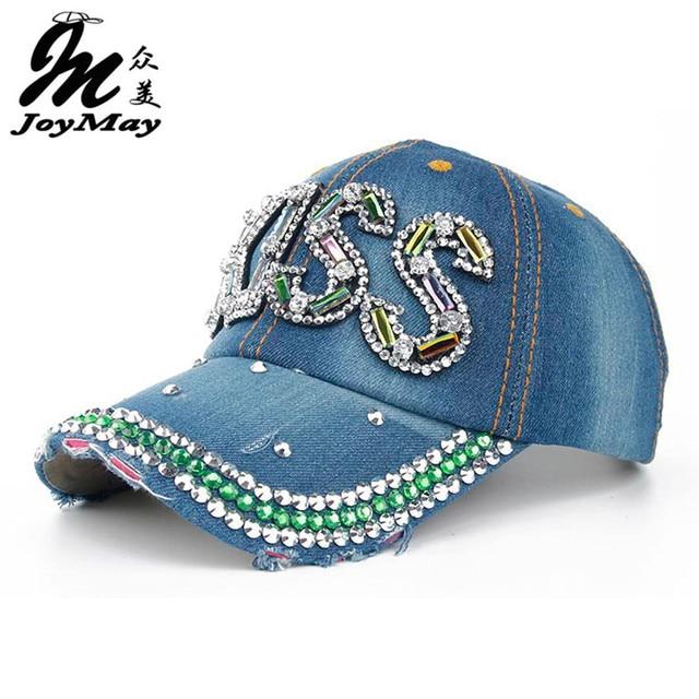 Joymay 2016 New Colorful Bling KISS Diamante Jean Denim Baseball Cap Men Adjustable Snapback Caps Women Casual Outdoor B269