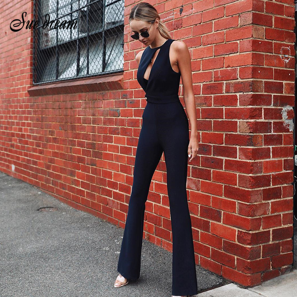 2019 Summer New Women's Fashion Sexy Hollow Out O-neck Sleeveless Long Pants Bandage Club Party Jumpsuit Bodycon