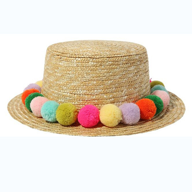2016 New Seven Rainbow Colored Plush Ball Fashion Women's Sun Hats Hawaiian Vacation Leisure Sentiment Lovely Fresh Straw Hat