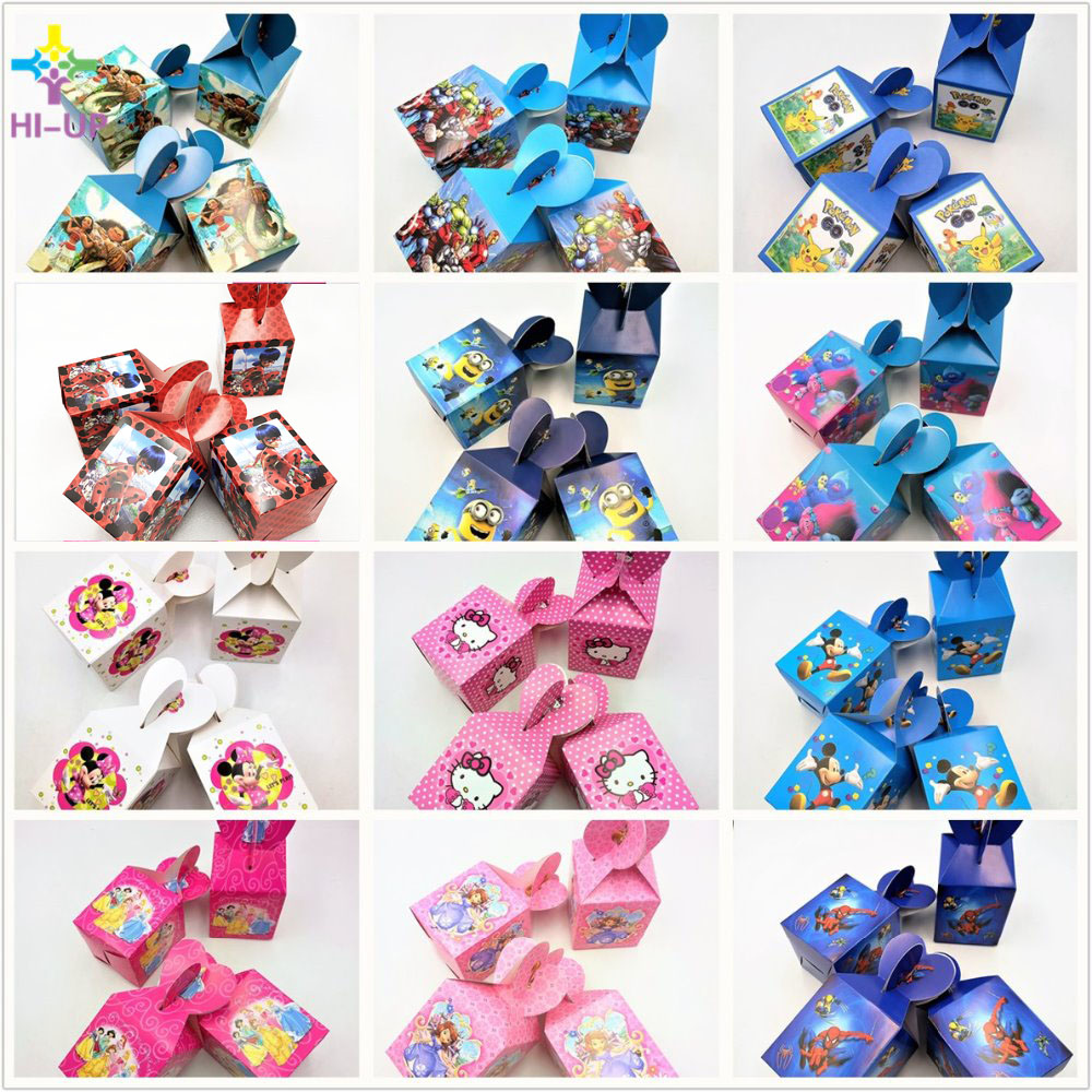 6pcs/bag Paper Candy Box Mickey Minnie Mouse Spiderman Moana Pokemon Trolls Paper Gift Boxes Baby Shower Party Supplies