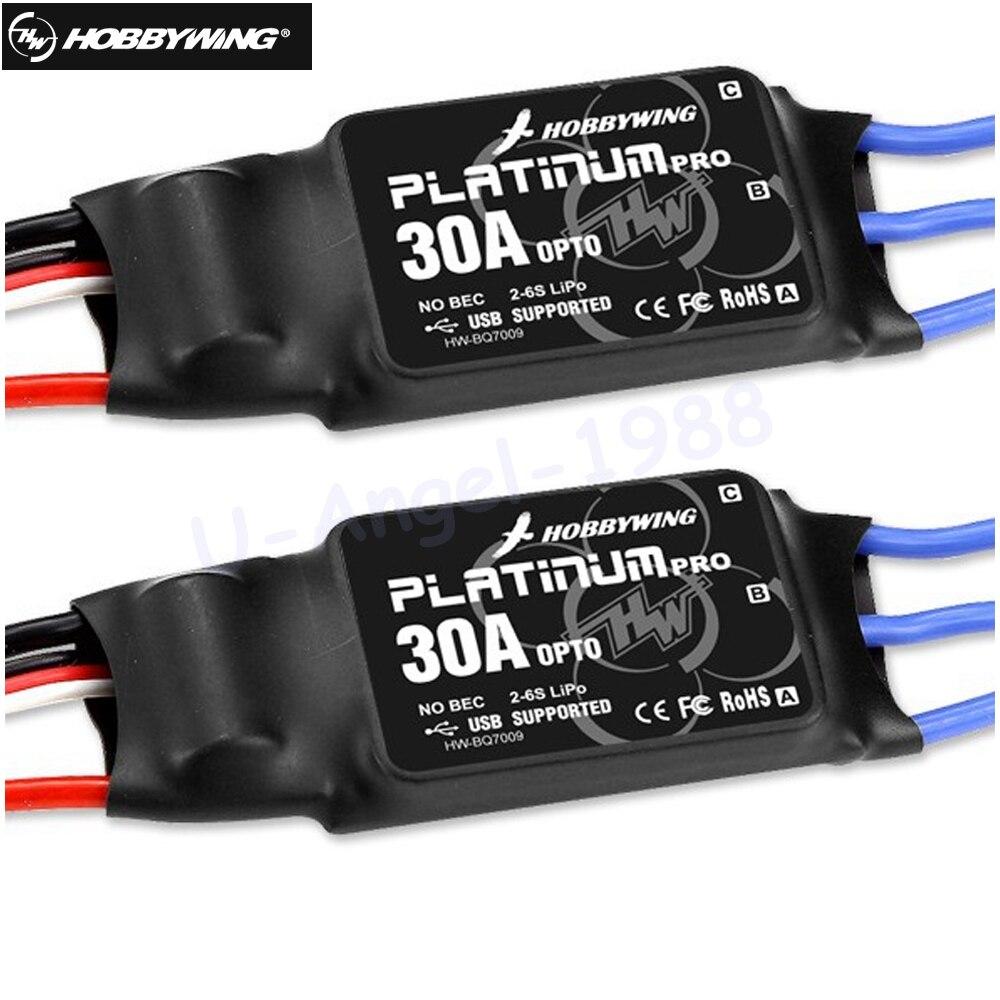 2 unids/lote HOBBYWING platino 30A Pro 2-6 S controlador de velocidad eléctrico (ESC) OPTO-especialmente para Multi-rotor