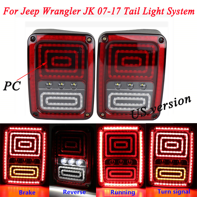 2007-2017 Car Non-destructive Modified Pair Rear LED Brake Turn Singal Reverse Tail Lights System Silp on For Jeep Wrangler JK xuankun off road motorcycle modified led taillights turn lights brake lights license plate tail lighthouse
