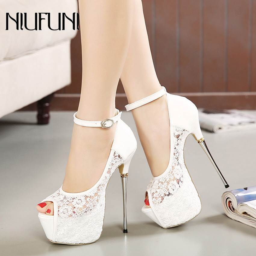 Women Ultra High Heels Wedding Pumps 16.5cm Peep Toe Sweet Sexy Nightclub Party Shoes Ladies Lace Platform 6cm Thin Metal Heels