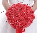 Crystals Pearl  Flowers Pink Purple Red Wedding Bouquet Big Bridal Bouquet With Ribbon Band