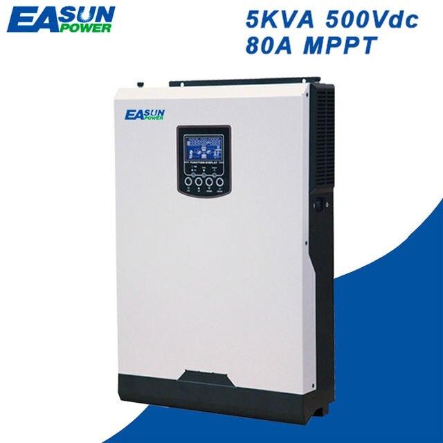 EASUN POWER Solar Inverter 500Vdc 4000W 80A MPPT 48V 220V Off Grid Inverter 5Kva Pure Sine Wave Inverter 60A Battery Charger