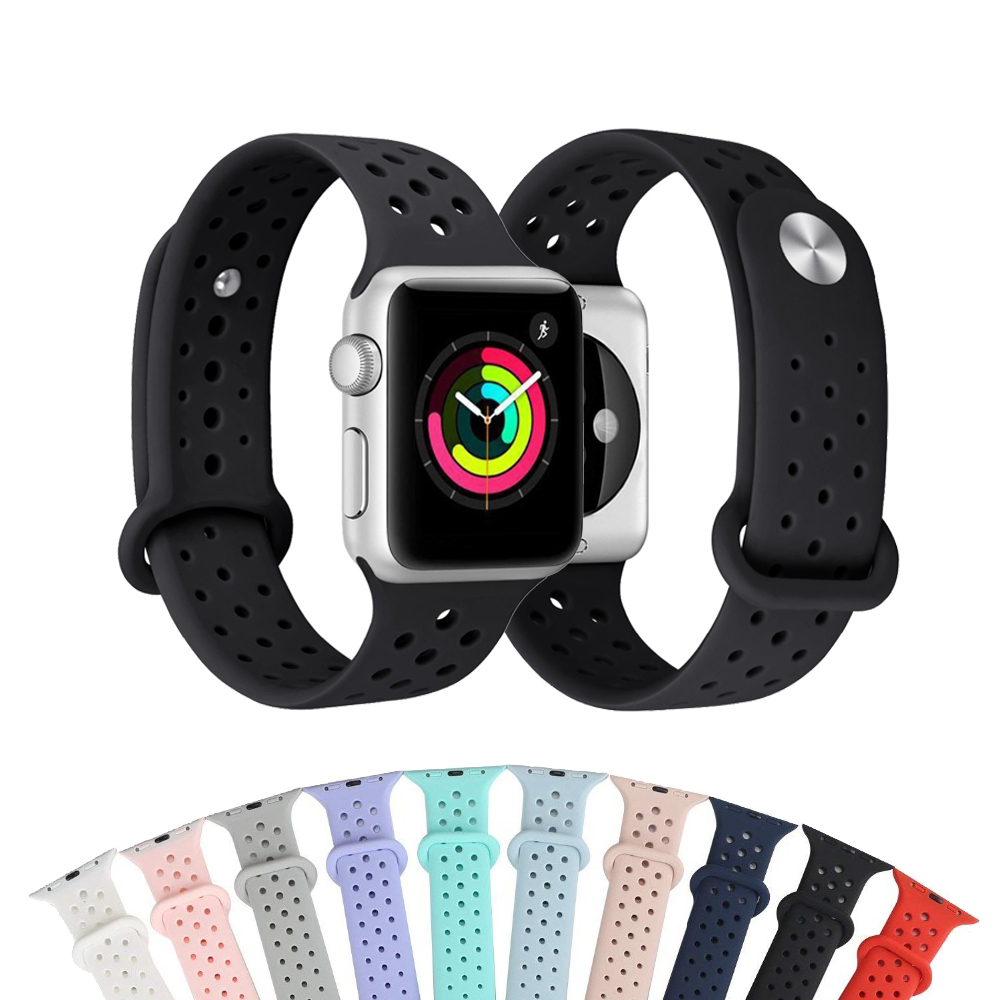 Silicone strap For Apple watch band 42mm 38mm iwatch 3/2/1 bracelet sport wrist watch belt Rubber watchband Watch accessories joyozy sport silicone band strap for apple watch nike 42mm 38mm bracelet wrist band watch watchband for iwatch 3 2 1 accessories