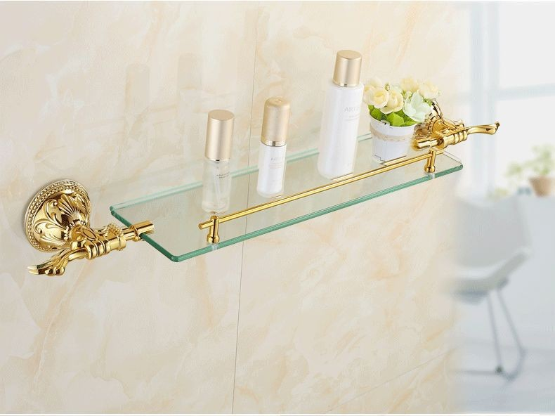 цены Free shipping Solid Brass Golden Finish With Tempered Glass,Single Glass Shelf bathroom shelf LG010