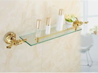 Solid Brass Golden Finish With Tempered Glass,Single Glass Shelf bathroom shelf LG010