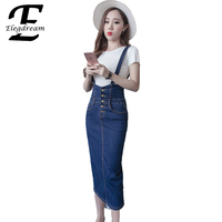 Elegdream 2017 Summer Style Ladies Sweet Jeans Dress Women Washed Suspender Denim Sundress Jeans Overall Dress