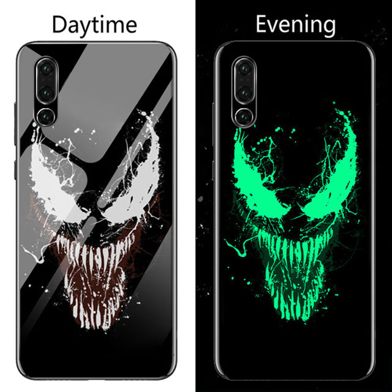Image 3 - Coque Marvel Venom Luminous Glass Phone Case For Huawei P30 P20 Pro Lite P10 Plus Honor 10 9 9X 8X i Iron Man Batman Cover Funda-in Fitted Cases from Cellphones & Telecommunications