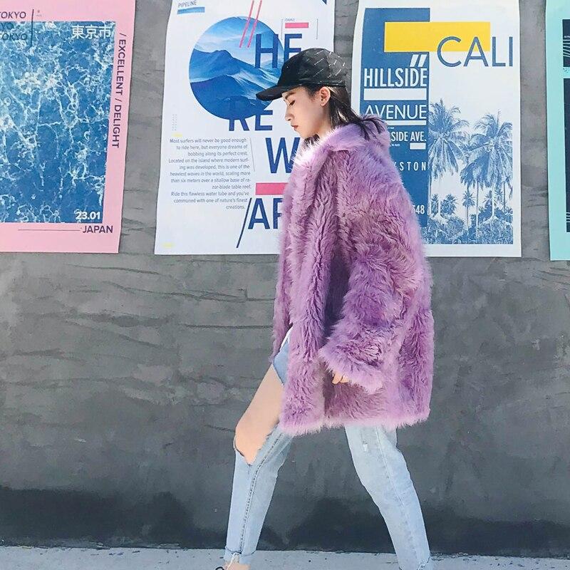 Réel Chaqueta Fourrure De Coréenne Femmes Mujer Double Automne My968 Veste Laine Vêtements Rose Vestes Manteau face Hiver 2018 XxIxERZ