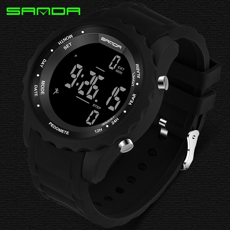 SANDA Precision Step Fashion Men's Sport Watch Men LED Army Military watches Dive Swim Outdoor Wristwatches relogio masculino
