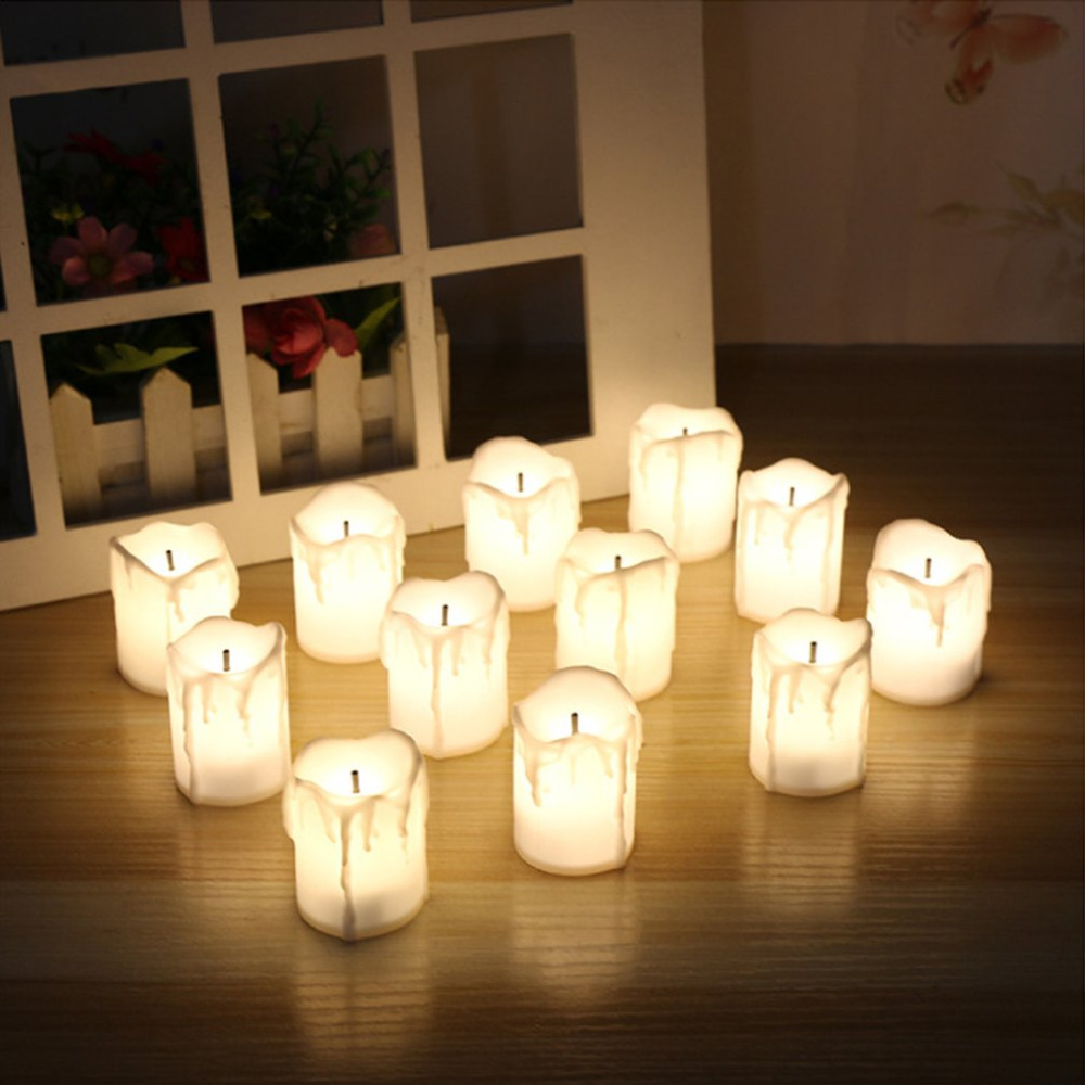 12pcs Flameless Electronic LED Candles Lamp Cylindrical Flickering Tear Dropped LED Tea Light Wedding Party Decoration Candles