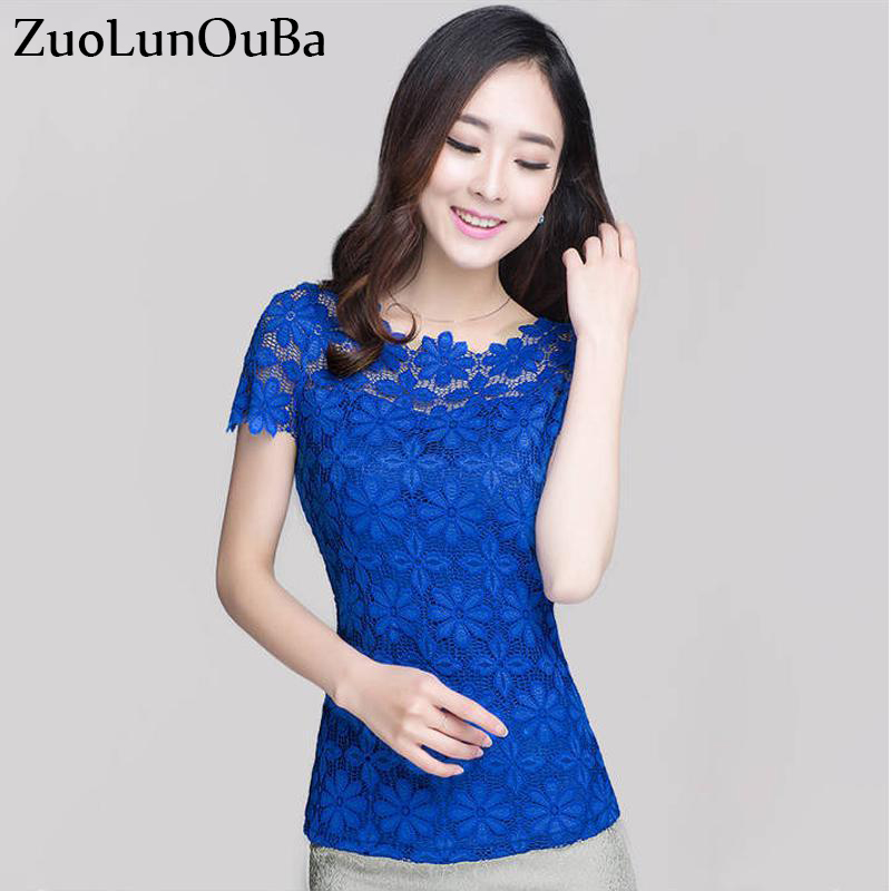 Zuolunouba 2018 Summer Tops Office Lady Lace Shirts Short Sleeve blue Flower Women Blusa high quality Female Blouse Feminina image