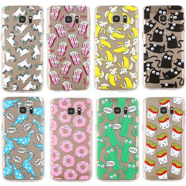 best sneakers 7c2cb 46a19 US $2.18 |3D Eyes Move Unicorn horse French fries banana cat soft TPU Case  For Samsung GALAXY S7 S7 Edge / G9350 Silicon Cover Phone Cases on ...