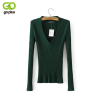 2017 New Spring Deep V Forest Green Pullovers Woman Stretch Knitted Sweater Women Elastic All Match
