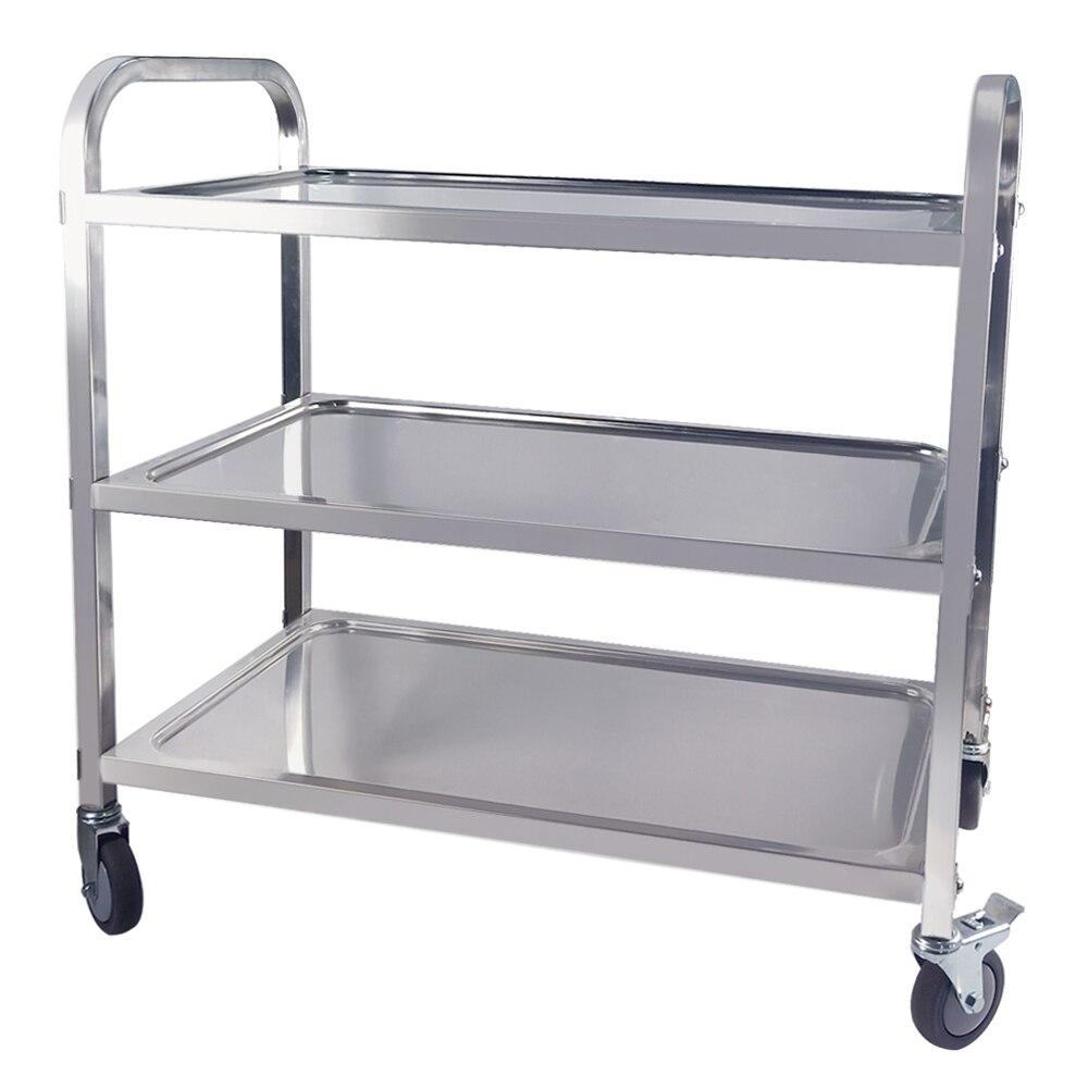 Chariot de service d'hôtel de cuisine d'acier inoxydable de 3 niveaux traitant le grand support de stockage de chariot de Transport d'étagère de chariot utilitaire de roulement