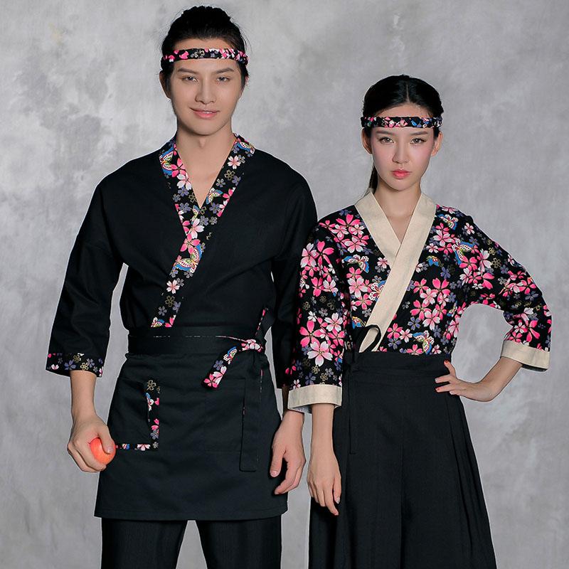 Us 2567 25 Offwysokiej Jakości Kwiaty Wiśni Japoński Dania Kuchni Mężczyźni Sushi Chef Uniform Kobieta Ubrania Robocze Dla Restauracji W Fartuchy