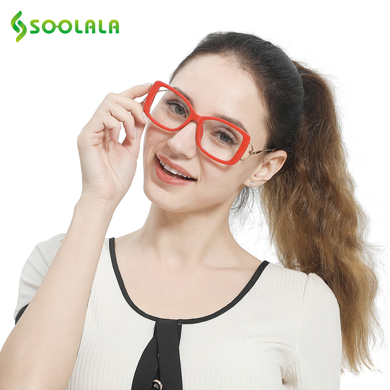 3b0724fb05 SOOLALA Square Reading Glasses Womens Mens Large Frame Fashion Eyeglasses  Frame Magnifying Presbyopia Glasses +0.5 to 4.0
