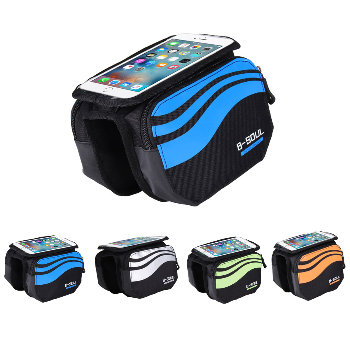 Bike Frame Front Bag Bicycle Cycling Riding Bag Pannier Smartphone & GPS Touch Screen Case Bicycle Accessories 5.7 Inches