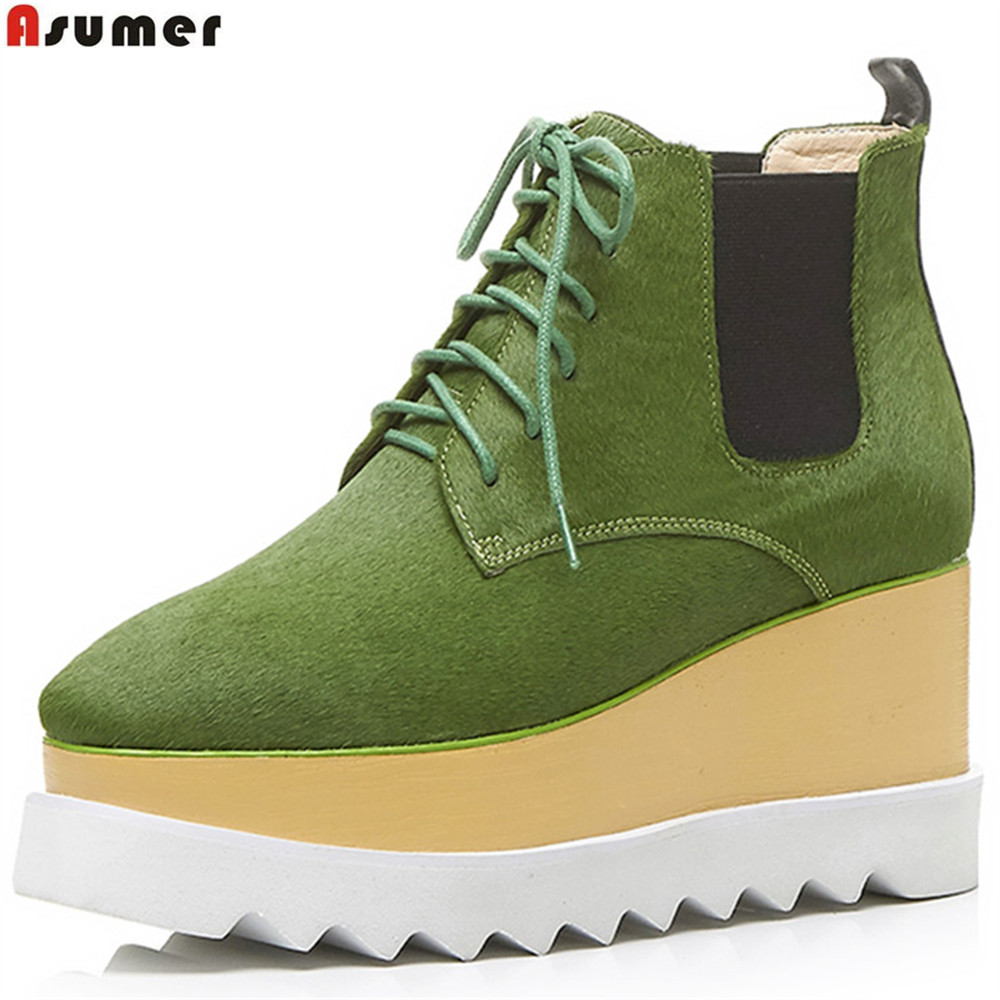 ASUMER black green fashion spring autumn new 2018 shoes woman boots square toe lace up horsehair platform wedges ankle boots front lace up casual ankle boots autumn vintage brown new booties flat genuine leather suede shoes round toe fall female fashion