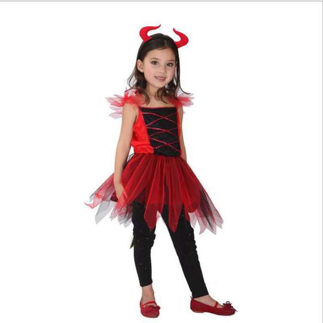 halloween costume childrens costumes pretty red devil dress princess dress cosplay