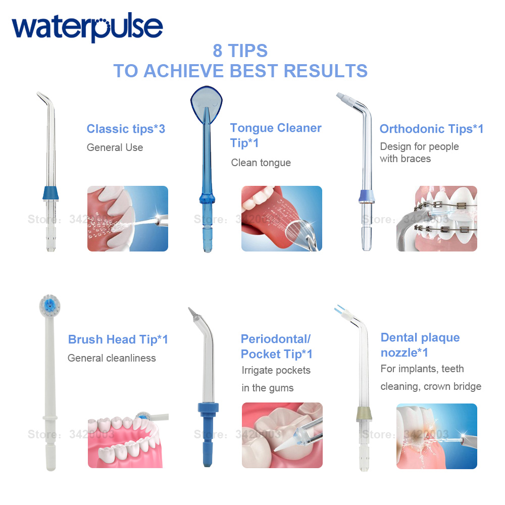 Image 5 - Waterpulse V660 Pro 8 Nozzles Oral Irrigator 12 Pressure Floss Massage Dental Water Electric Flosser Irrigator Oral Water Dental-in Oral Irrigators from Home Appliances